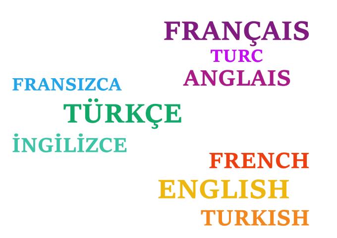 Make translation between english, french and turskish by Ceydadinc