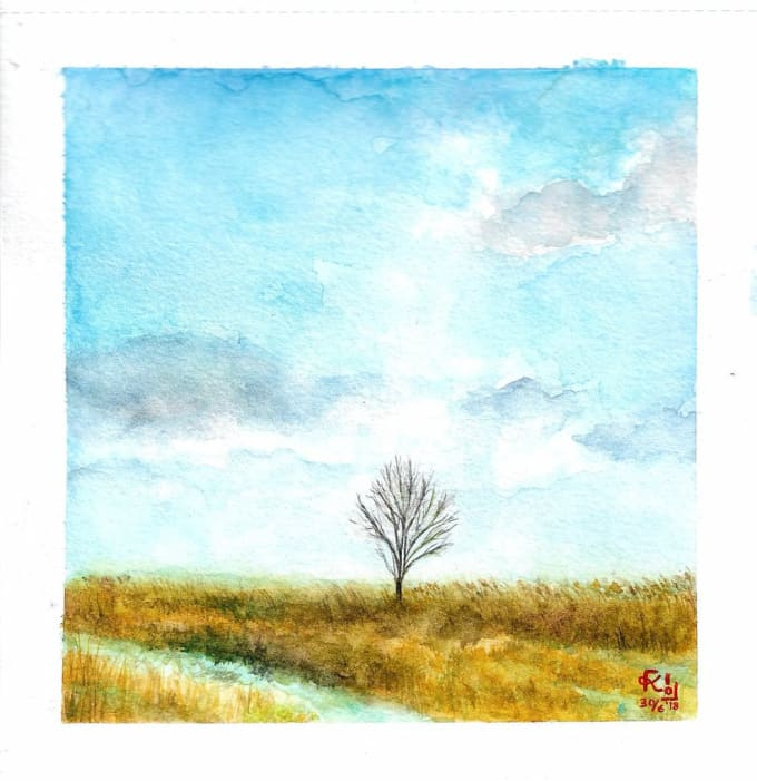Paint Simple Watercolor Landscape Scenery For Background By Kiko Art