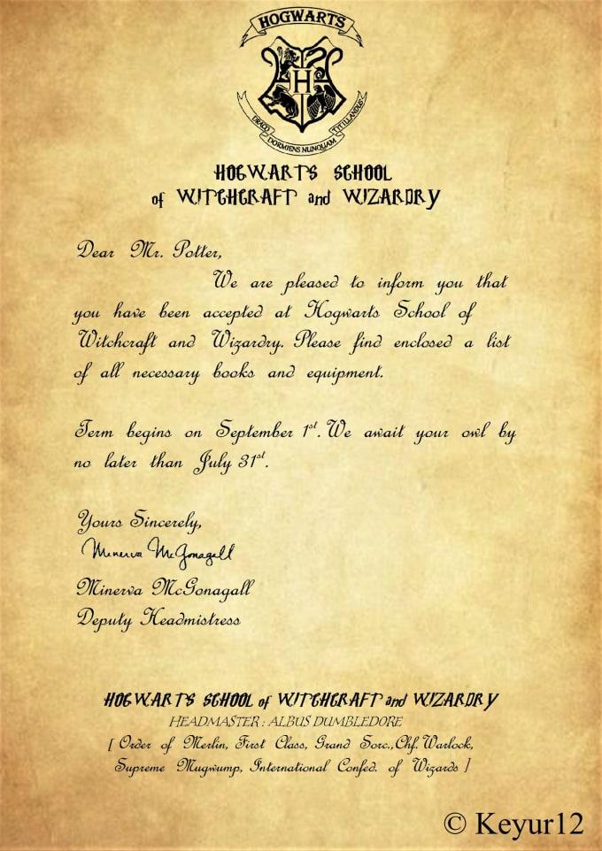Make A Custom Harry Potter Hogwarts Acceptance Letter By Keyur12