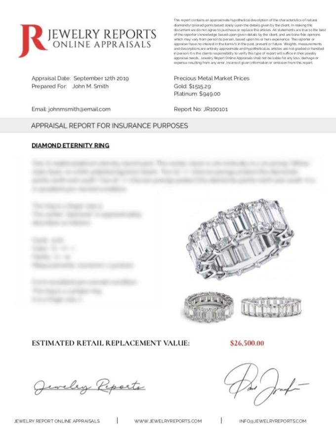 Prepare Jewelry Appraisal Reports