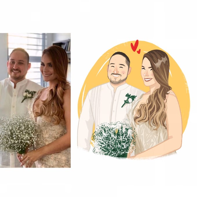 i will draw beauty and lovely illustration of couples wedding pets