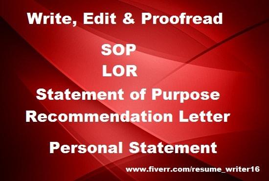 write professional sop  personal statement of purpose
