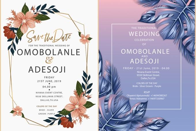 design wedding invitation cardssonamabcd  fiverr