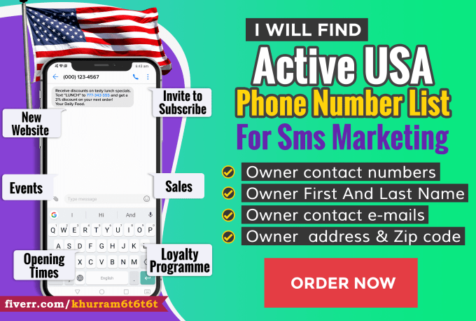 Find active usa phone number list for sms marketing by Khurram6t6t6t
