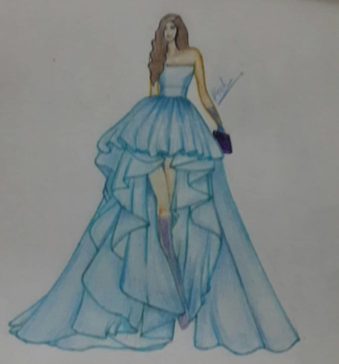 Draw Beautiful Fashion Illustration And Sketch For You By Aneela09