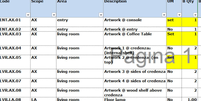 Create An Interior Design Bill Of Quantities By Alefelt