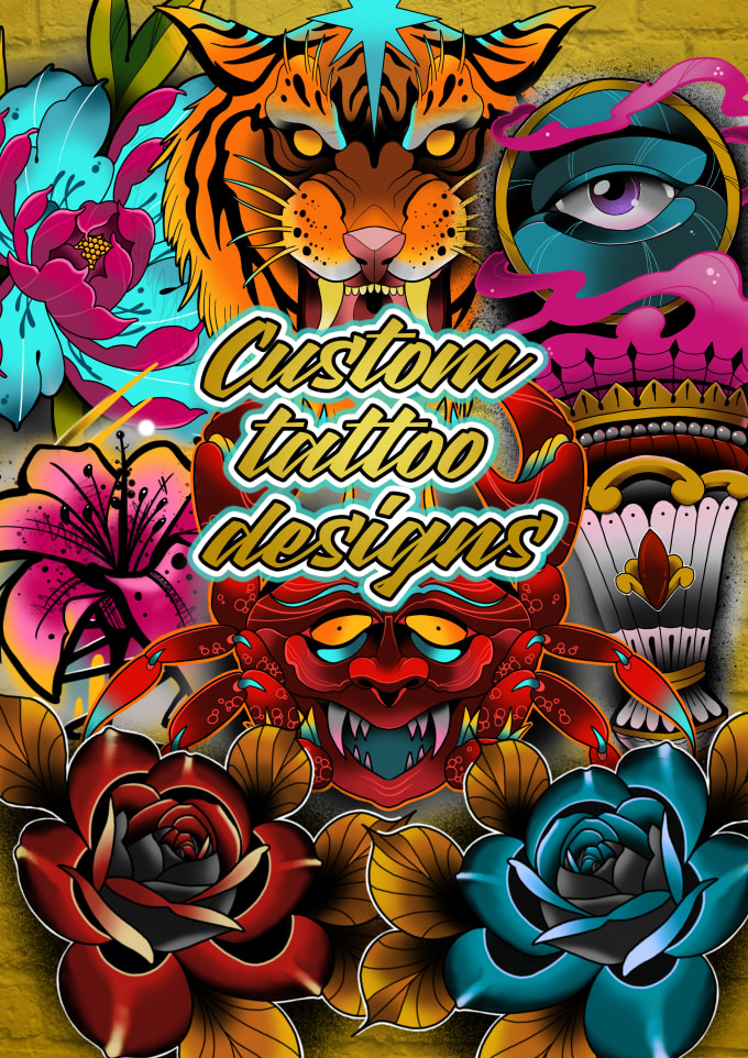 Create A Medium Custom Tattoo Design For You Full Colour And Line Drawing By Inkedtat2