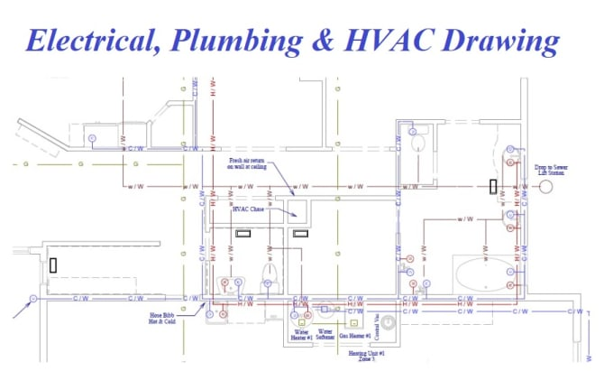 Draw and design your electrical, plumbing and hvac drawing by Tmraju1 | Hvac Plan Drawing Pictures |  | Fiverr