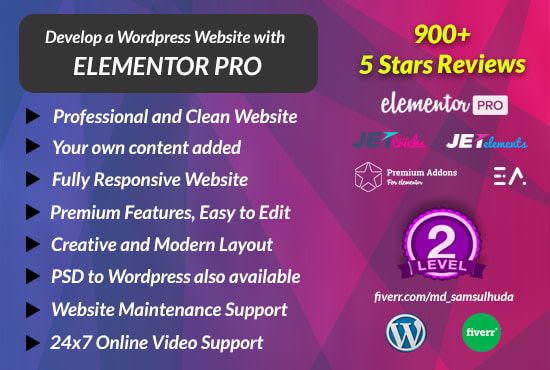 Create a full website using elementor pro page builder in ...