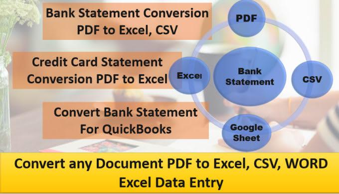Voy a convertir extracto bancario PDF a Excel, CSV, hoja de Google