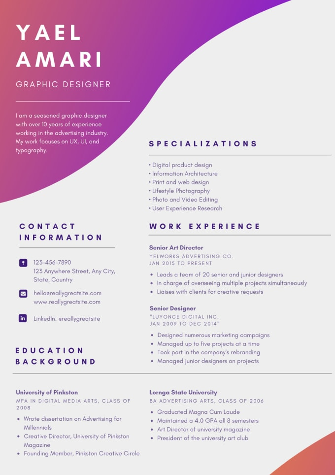 Create You A New Unique Cv And Cover Letter By Scammisano Fiverr