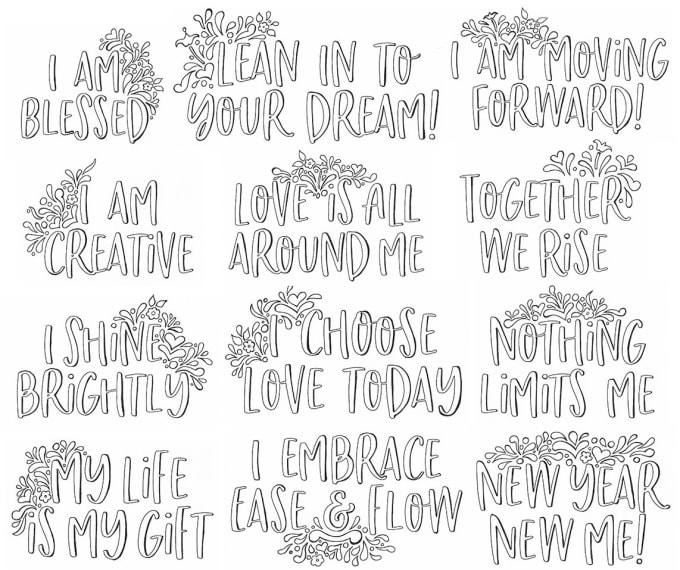 Provide 12 Affirmation Hand Drawn Coloring Printable Pages By Tamikoriviere