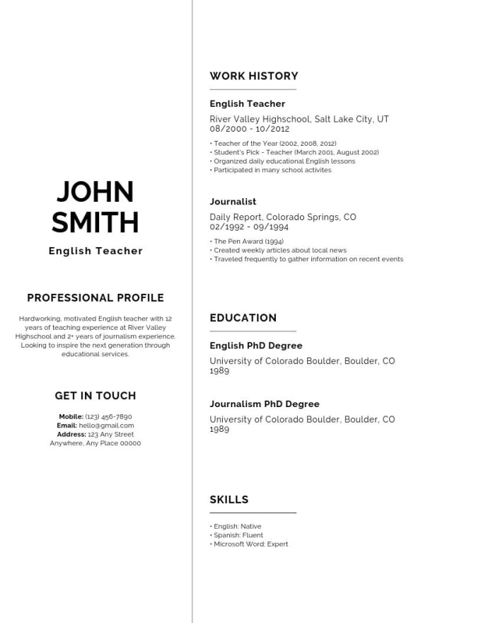 Create A Professional Resume For Job Or College Application By