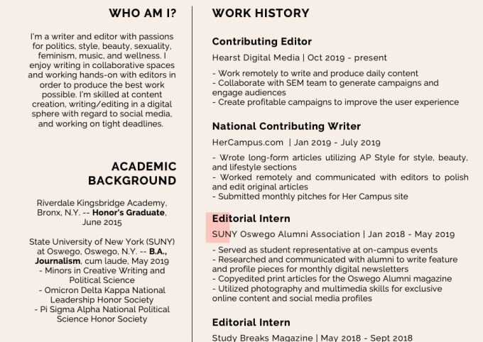 Create Your Resume Or Cover Letter By