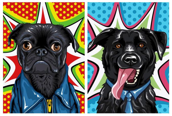 draw custom pet portrait in pop art style
