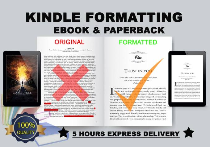 I will do kindle ebook book formatting createspace paperback formatting