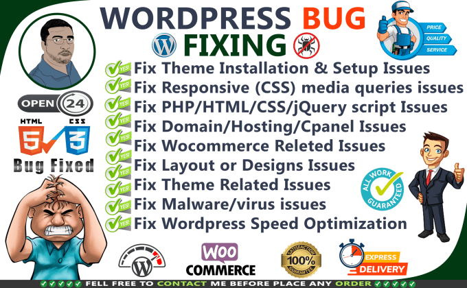 I will fix wordpress bug or html css responsive issues in 24 hours