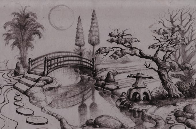 Drawing japanese style garden designs available land size ...