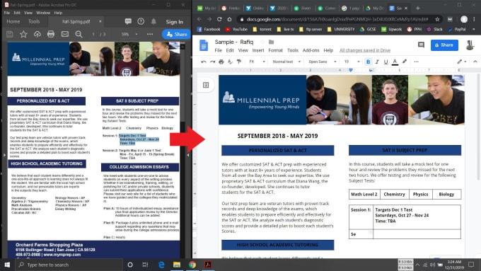 Voy a convertir pdf, palabra, Excel a google doc, hojas