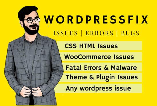 I will fix wordpress issues, wordpress website or errors
