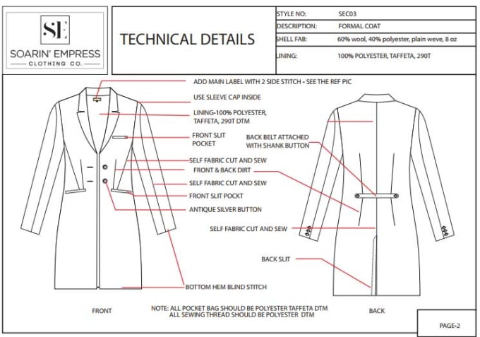 Create Fashion Sketch Tech Pack And Pattern For Manufacture By Ourfashiontech