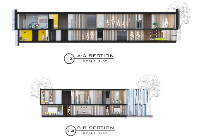 3d section visualization of interior and architectural by