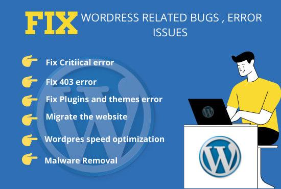 I will fix wordpress error or issue fast