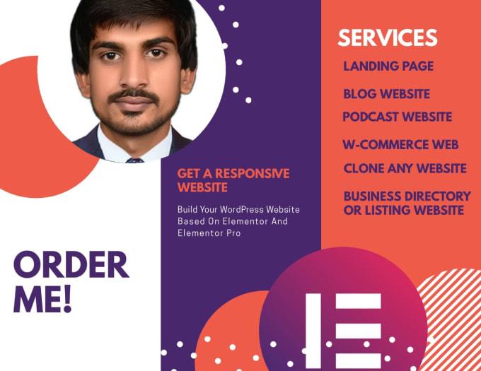 I will design wordpress website by elementor pro page builder