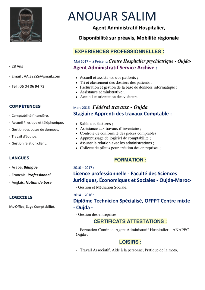 Create a professional resume for you in french or english ...