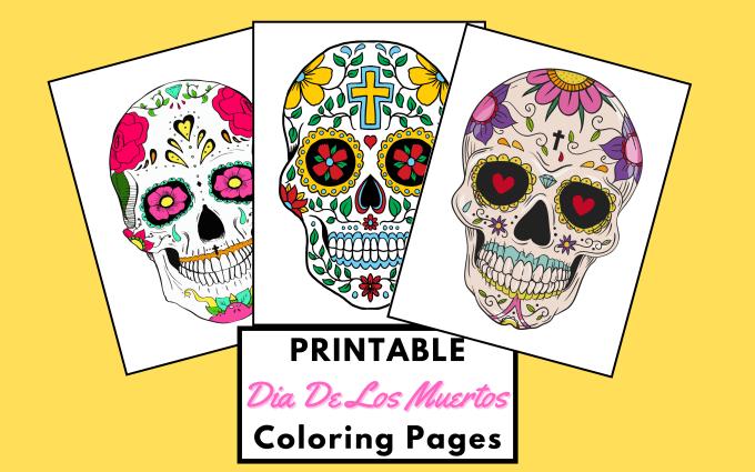 Send You 50 Skulls Dia De Los Muertos Coloring Pages By Relicaaa Fiverr