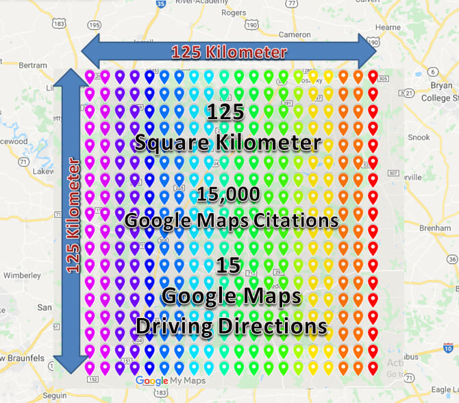 point 100 square kilometre with 15000 google map citation for local seo