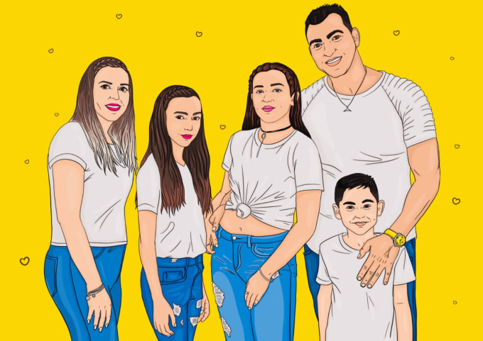 draw cartoon illustrated portrait for you or your family