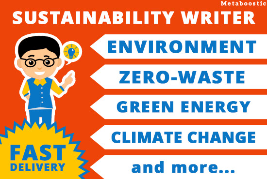 be your sustainability writer for your blog or website