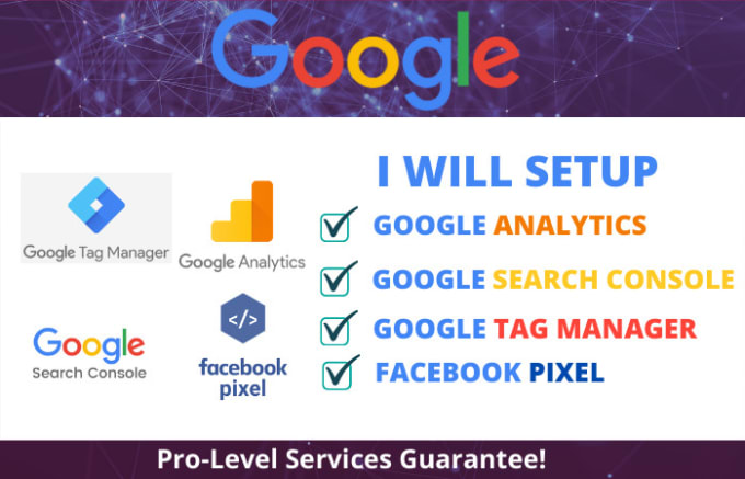 Setup google analytics, tag manager, search console and facebook pixel