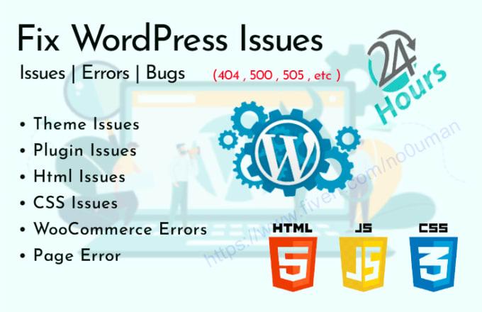 I will fix all wordpress issues and errors
