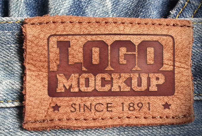 create a jeans leather logo mockup by tl54mockups create a jeans leather logo mockup