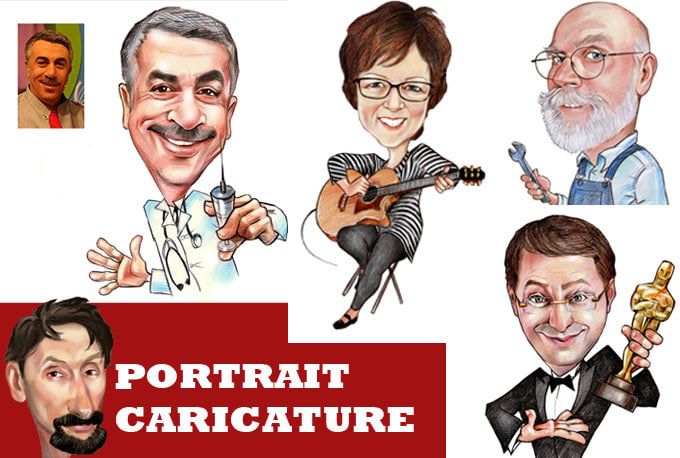 I will draw a portrait style caricature from photo