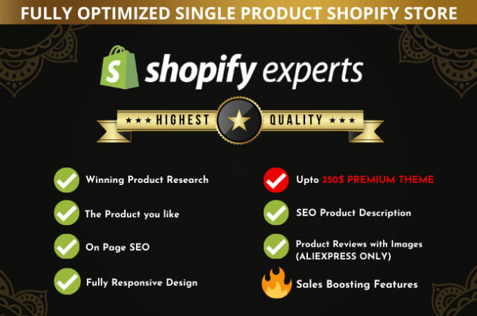 create and design 6 figures single product shopify website or store