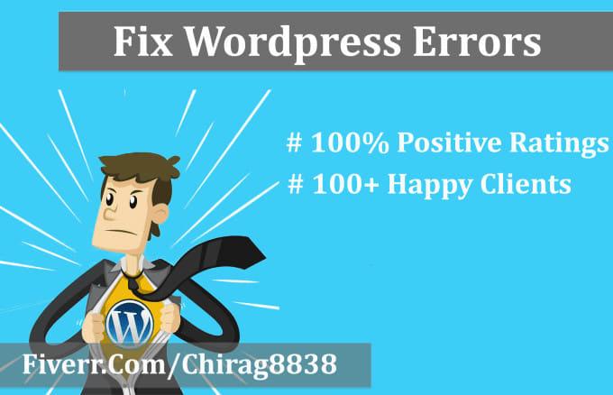 I will fix wordpress errors wordpress issues