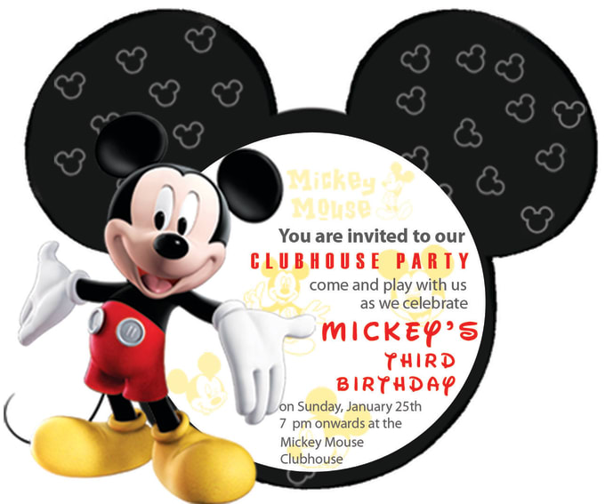 Customise this mickey mouse invitation card for your party ...