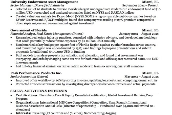Help With Investment Banking And Private Equity Resumes By Carterdre Fiverr