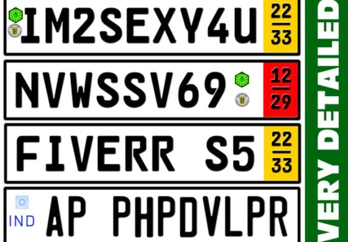 create a german zoll indian new zealand license plate hi