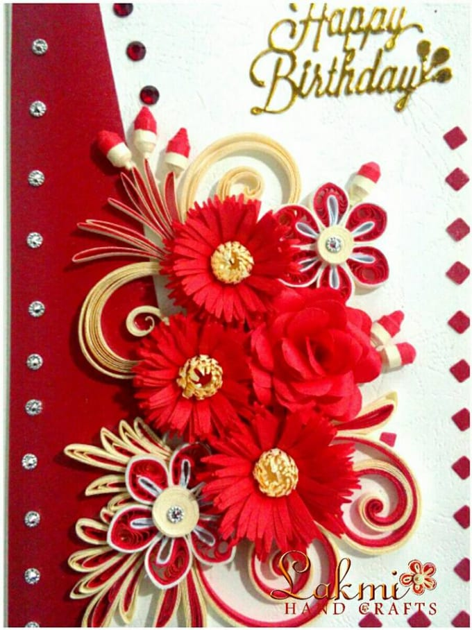 Superb Send A Paper Quelling Hand Made Birthday Card By Lakmihandcraft Personalised Birthday Cards Rectzonderlifede