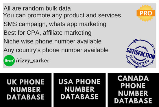 Provide phone numbers for sms marketing by Rizvy_sarker