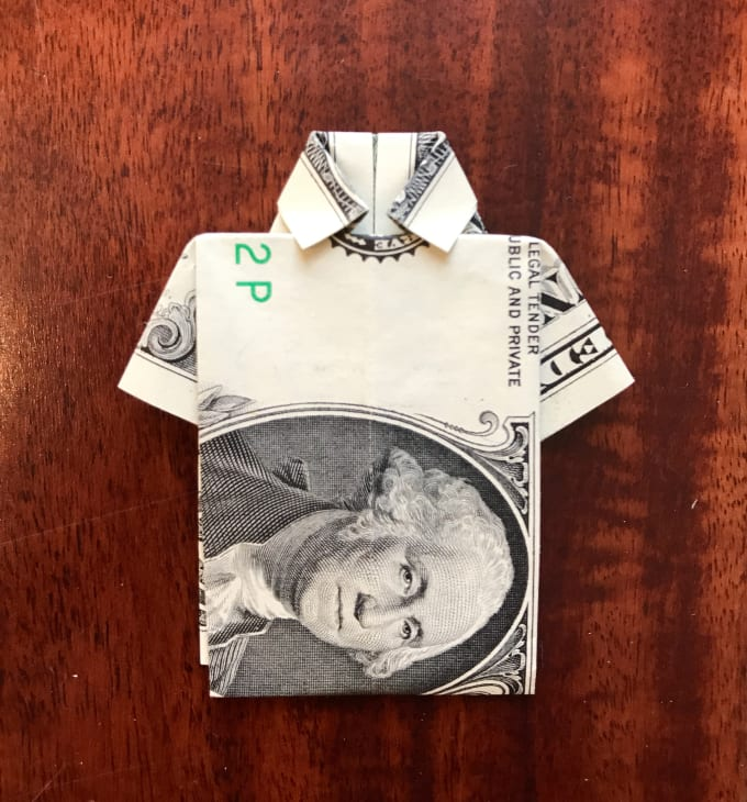 Dollar Money Origami Shirt and Tie | eBay | 730x680