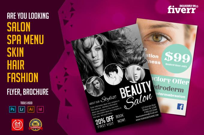 do beauty salon,spa menu,skin,hair,fashion flyer or brochure