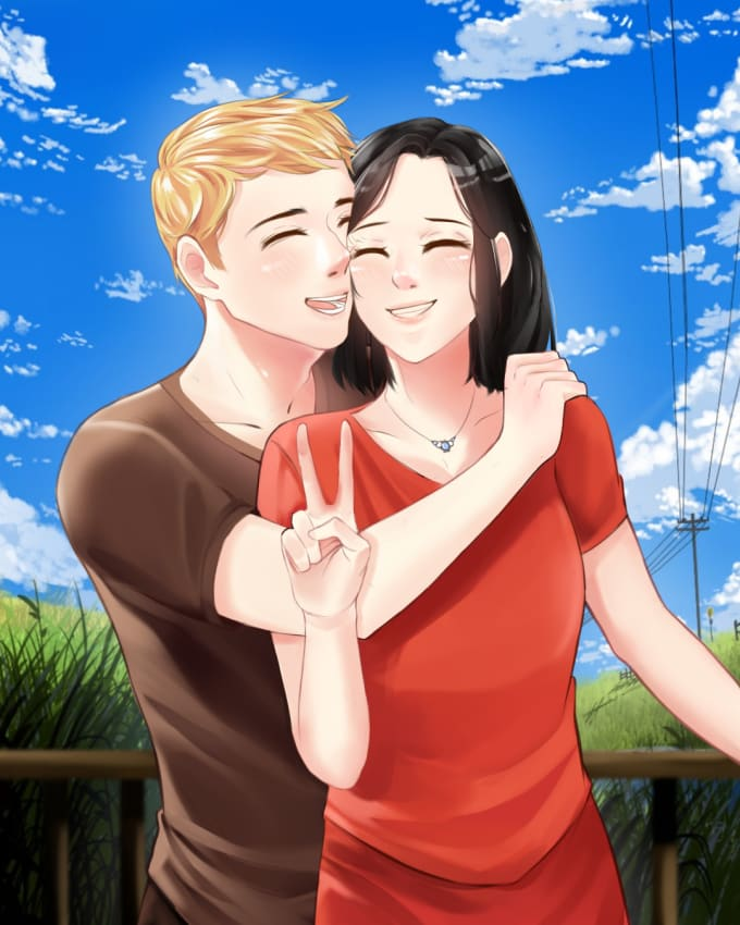 Draw Cute Anime Couple Illustration For You By Ethylynn Fiverr