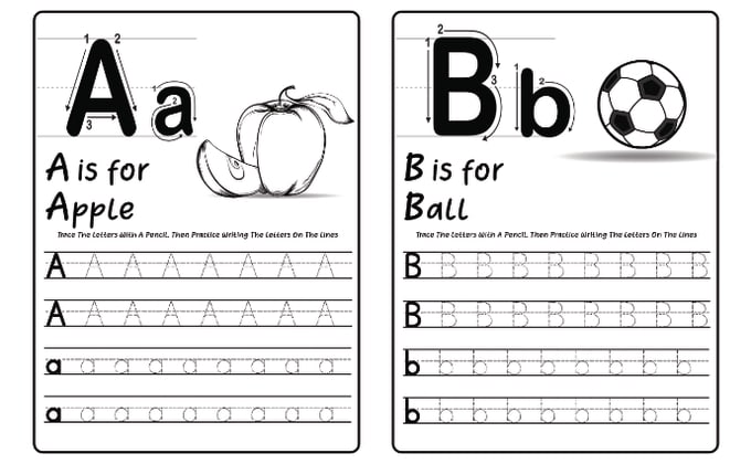 Make Custom Tracing Workbook, Letters And Numbers Worksheets For Kids By  Giftiebeeprints Fiverr