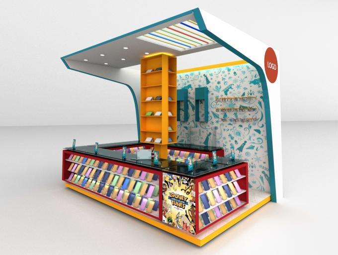 Exhibition Stand 3d Model : Design your exhibition trade booth stand kiosk 3d model by urender