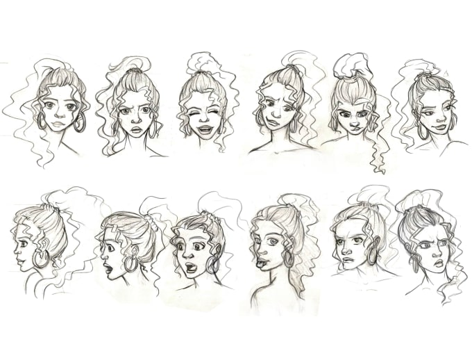 Design your character and draw its face expressions